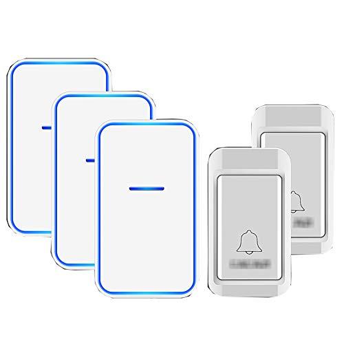 Geen batterijen nodig Draadloze deurbel, waterdichte draadloze plug-in deurbellen met 38 ringtones 3 niveaus volume en flitser (2 drukknop + 3 ontvanger),White