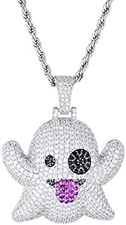 Hip Hop Iced Out Bling CZ Zircon Funny Spit Tongue Emoji Ghost Necklaces & Pendants For Men Rapper Jewelry Silver Color