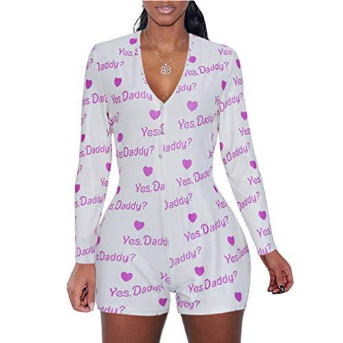 Yying Damen Sommer Jumpsuits Mode 3D Musterdruck Kurzarm Playsuits Sexy V-Ausschnitt Einreiher Overall Slim Fit Elastischer Romper S-2XL