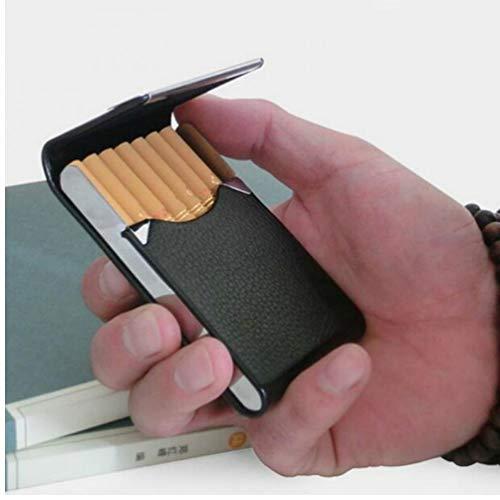 Zonster 1PC Aluminio cigarro Titular Tabaco Caso de Cigarrillos del Bolsillo de Caja de Almacenamiento de la Tarjeta de la PU de Acero Inoxidable Recipiente Fumadores Caja Accesorios Negro