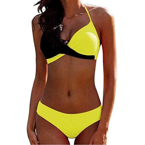 Vrouwen retro beugel hoge taille badpakken, vrouwen sexy kleur split cross split badpak-geel-zwart_S, brutale bodems sexy badpak