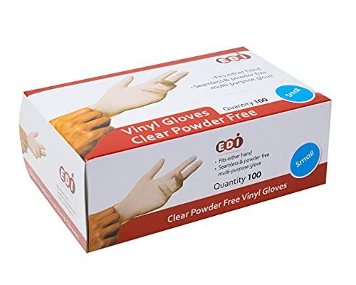 EDI Disposable Vinyl Gloves Medium, 100 pcs (Clear) - Powder-Free, Latex-Free
