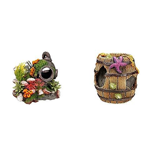 Nobby Aqua Ornaments Helm mit Pflanzen 13,5 x 11 x 12 cm & Aqua Ornaments FASS 8,5 x 8,5 x 9 cm