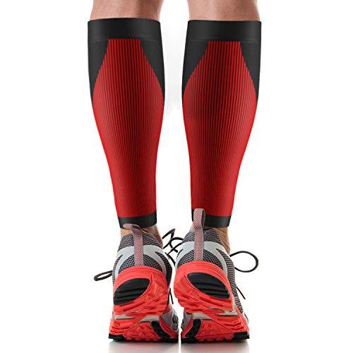 Uflex Leichtathletik Abgestufte Kompression Calf Sleeve–Für Packungen für professionelle Athleten–Unterstützt Schmerzlinderung, tibiakantensyndrom, Arthritis und Krampfadern, rot, schwarz, Small