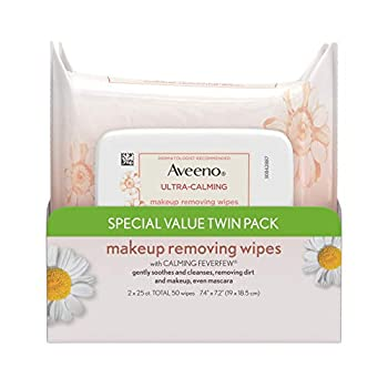 Aveeno Ultra-Calming Makeup Removing Facial Cleansing Wipes with Calming Feverfew Extract Oil-Free Soothing Face Wipes for Sensitive Skin Gentle & Non-Comedogenic Twin Pack 2 x 25 ct