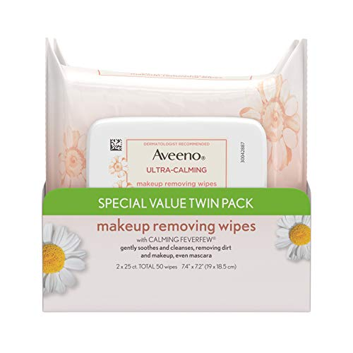 Aveeno Ultra-Calming Makeup Removing Facial Cleansing Wipes with Calming Feverfew Extract, Oil-Free Soothing Face Wipes for Sensitive Skin, Gentle & Non-Comedogenic, Twin Pack, 2 x 25 ct