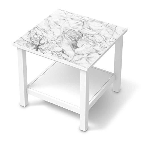creatisto Möbeltattoo passend für IKEA Hemnes Beistelltisch 55x55 cm I Möbelaufkleber - Möbel-Folie Tattoo Sticker I Wohn Deko Ideen für Esszimmer, Wohnzimmer - Design: Marmor weiß