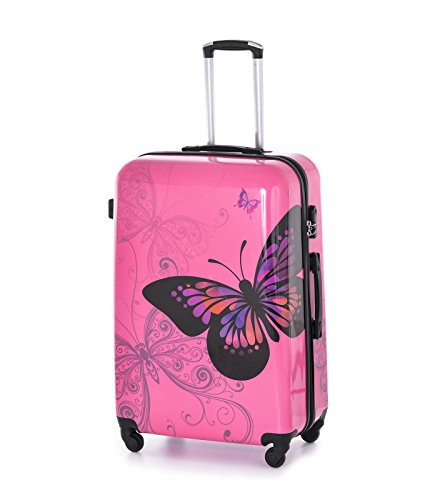 Hard Shell 4Wheel Suitcase PC Luggage Trolley Case Cabin Hand Butterfly Rose (Large 28')