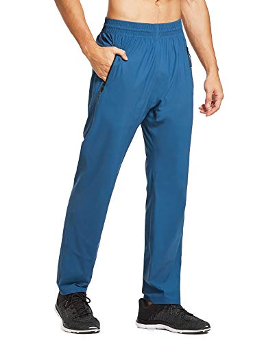 BALEAF Men's Athletic Running Pants Quick Dry Seamless Zipper Pockets Open Bottom Joggers for Gym Workout Blue Size M