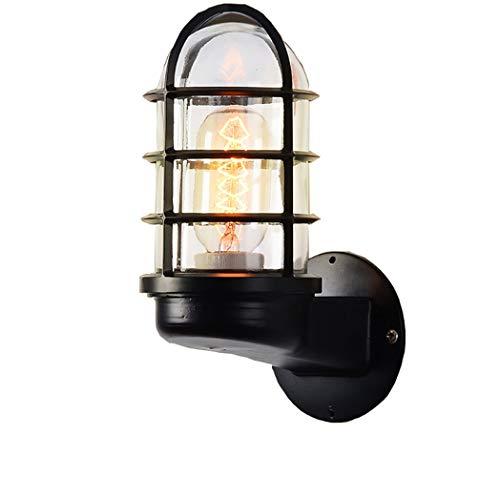 Nerioya Retro-wandlamp, garage, glas, creatief, voor restaurant, buiten, waterdicht, industrieel, waterdicht, glas, zwart