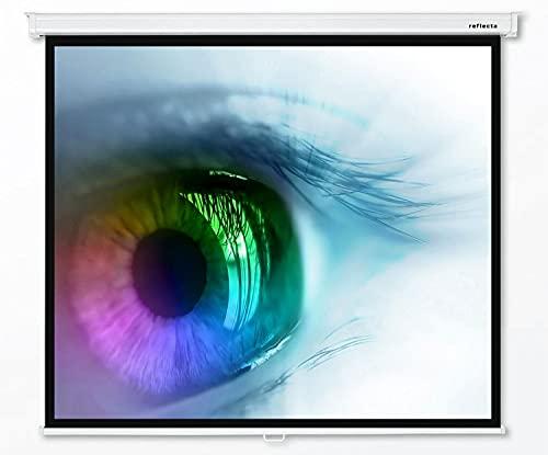 Reflecta CrystalLine Beamer Rolloleinwand 180 x 180 cm (87661) - Format 1:1 - Gehäuselänge 195 cm - Full HD - 3D - 4K - HDTV - Vierkantgehäuse - Wand- und Deckenmontage - 1,0 Gain - BetaLux