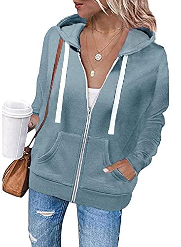 Tomwell Sudadera con Capucha para Mujer Sudaderas con Cremallera Mujer Sweatshirt Color Liso Chaqueta Deportiva Cardigan de Manga Larga Casual de Otoño Correr Fitness Azul Claro XL