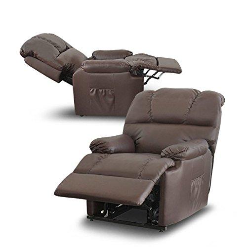 Deluxe Fauteuil électrique relaxant et massant, inclinable, avec élévateur, pour personnes âgées ou à mobilité réduite, en cuir synthétique de grande qualité chocolat noir