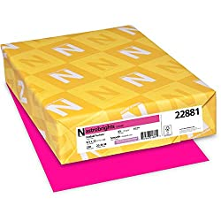 Wausau Paper Astrobrights Colored Card Stock 65 lb Letter Fireball Fuchsia 250 Sheets per Pack 22881