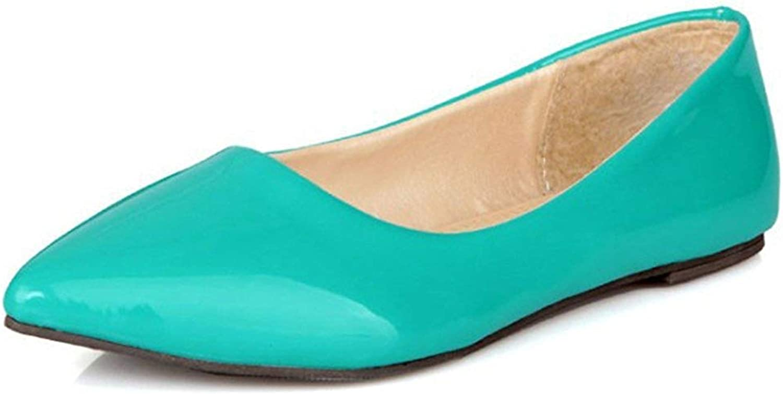 Lelehwhge Women's Comfy Pointed Toe Low Cut Wide Width Slip On Flats Pumps shoes Black 8 M US