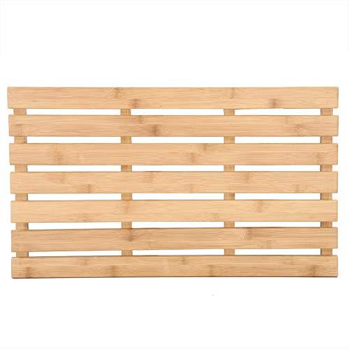 Cocoarm Antislip bamboe mat rechthoekige badmat van bamboe in lattendesign douche mat badaccessoire voor badkuip of douche tot 100 kg 60 x 35 x 2,5 cm (Stil 1)