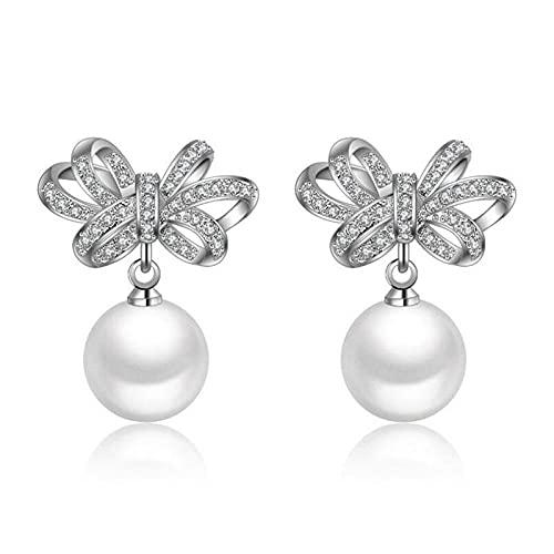 Tropfen Ohrringe Für Frauen Shiny Cz Zircon Bowknot Imitate Pearl Dangle Stud Earrings Hypoallergenic Lightweight Drop Pendant Jewelry Charm Earrings for Women Girls Party Wedding Valentine's Day G