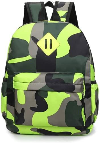 Mochila para niños pequeños, para guardería, para niños, mochila escolar, camuflaje, mochila escolar, para el aire libre, tiempo libre, color verde camuflaje, tamaño mediano