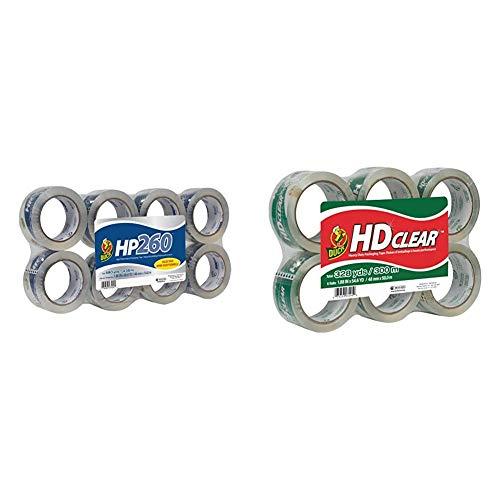 Duck HP260 Packing Tape Refill, 8 Rolls, 1.88 Inch x 60 Yard, Clear (1067839) & HD Clear Heavy Duty Packing Tape Refill, 6 Rolls, 1.88 Inch x 54.6 Yard, (441962)