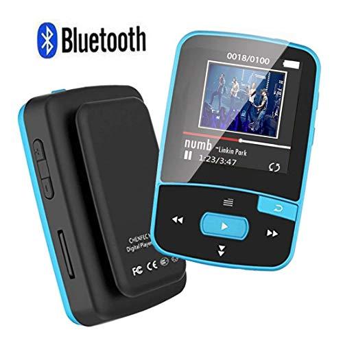 MP3-speler met Bluetooth, 8 GB Bluetooth MP3-speler met clip, ondersteunt FM-radio, uitbreidbare micro-SD-sleuf, ondersteunt 64 GB, blauw