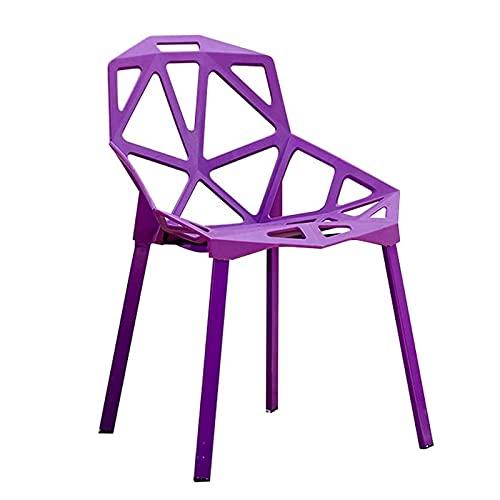 CHENMAO Silla de Conferencia de Moda Silla de Entrenamiento Silla Simple de Ocio Silla geométrica Silla de Oficina Creativa Silla de plástico Silla de Oficina Personalizada (Color : Purple)