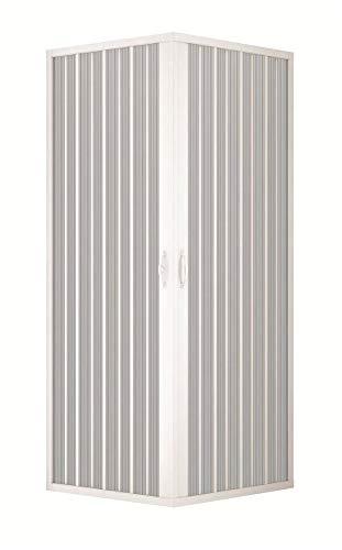 Douchecabine, douchescherm, douchecabine wand, grootte: 80 x 90 cm, H 185 cm, van PVC, hoekopening, 2 vouwdeuren, wit
