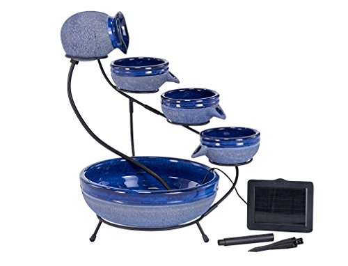 Smart Solar 23967R01 4-Tier Solar Powered Cascading Fountain, Blueberry And Rustic Blue,  Powered By A Separate Included Solar Panel Along With a 10-Foot Cable