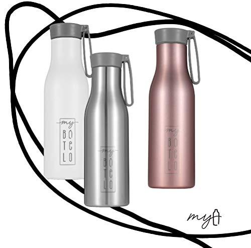 my BOTELO Edelstahl Trinkflasche, 530 ml, Kohlensäure geeignet, DECKELAUSWAHL, BPA Frei, Auslaufsicher – Thermosflasche für Fitness, Schule, Outdoor, Für Kinder geeignet