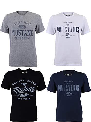 MUSTANG 4er Pack Herren T-Shirt mit Frontprint und Rundhalsausschnitt - Farbmix Blau, Schwarz, Grau und Weiß, Größe:XL, Farbe:Farbmix (P15)