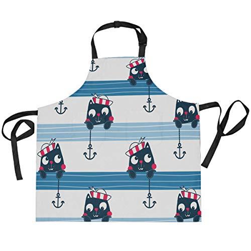 TropicalLife HaJie Babero ajustable delantal lindo animal gato marinero ancla chef uniforme con 2 bolsillos para hombres mujeres cocina cocina unisex ropa de trabajo