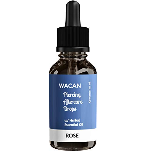 WACAN Piercing Aftercare Oil Solution and Bump Shrinking Treatment in DROPBOTTLE with All-natural Carrier Coconut Oil, Organic Herbal Essential Oil, Vitamins A, C, and E Keloid Remover. (ROSEMARY)