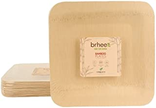 brheez Bamboo Veneer Disposable Eco-Friendly Square Plates - Elegant, Compostable and Biodegradable - Made from 100% Natural Bamboo (25, 10