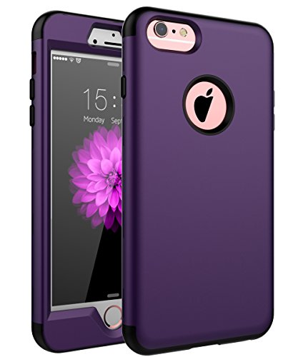 """SKYLMW iPhone 6 Plus Case,iPhone 6s Plus Case, Three Layer Heavy Duty High Impact Resistant Hybrid Protective Cover Case for iPhone 6 Plus/6s Plus (Only for 5.5"""") Purple/Black"""