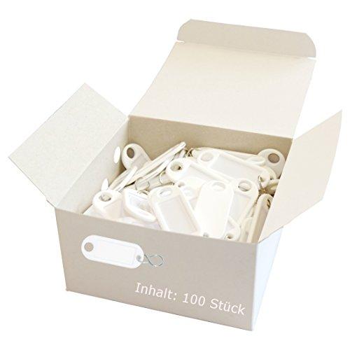 Wedo 262803400 Schlüsselanhänger Kunststoff (mit S-Haken, auswechselbare Etiketten) 100 Stück, weiß
