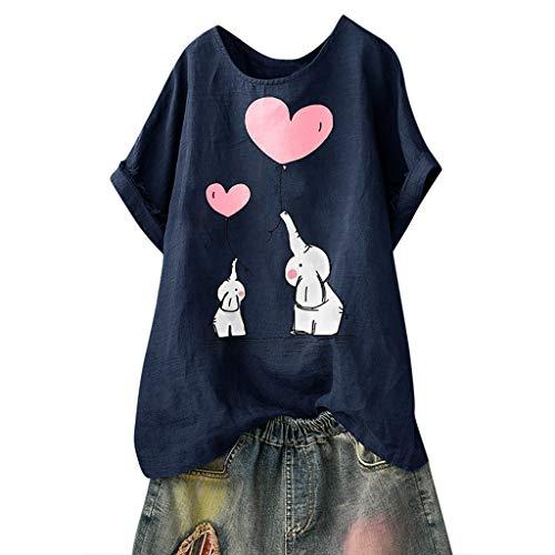 TUDUZ Blusas Mujer Manga Corta Verano Camisas Camiseta de Algodón y Lino con Estampado de Dibujos Animados (Armada.e, XXXXXL)
