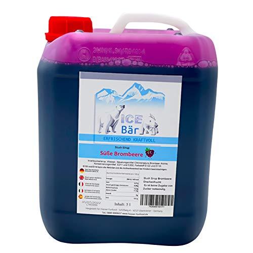 ICE BÄR Slush Sirup 12 fruchtige Sorten 5 Liter Konzentrat | Geschmack Brombeere | Slushy Maker Ice für Eis Maschine zum Selbermachen Getränkesirup