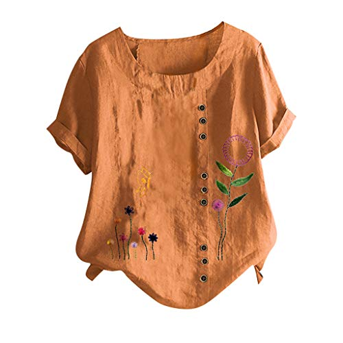 VEMOW Blusas Mujer Manga Corta Verano Lino Camisas O-Cuello Retro Botón Tops Tamaño, Elegantes Moda Estampado Camisa Jerseys Casual Suelta Sudadera Tapas Básica Informal T-Shirt(G Naranja,5XL)