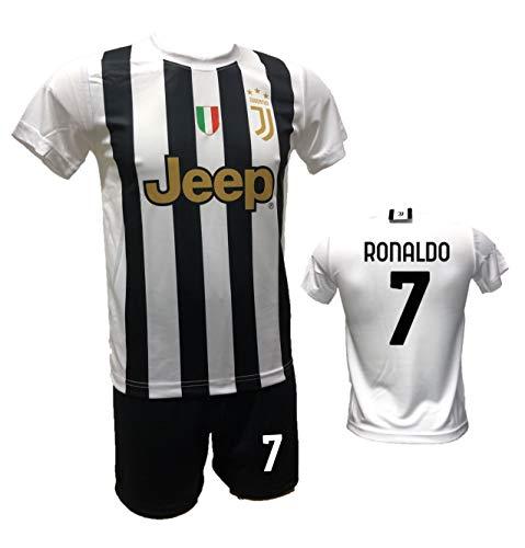 DND DI D'ANDOLFO CIRO Completo Calcio Maglia bianconera Home Ronaldo 7 CR7 e Pantaloncino con Numero 7 Stampato Replica Autorizzata 2020-2021 Taglie da Bambino e Adulto (8 Anni)