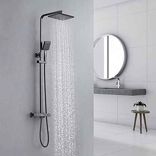 KAIBOR Set de Ducha Termostatica Negro, Sistema de ducha termostática, Ducha de Lluvia 26 x 19CM y Ducha de Mano Altura Ajustable, protección contra las quemaduras…