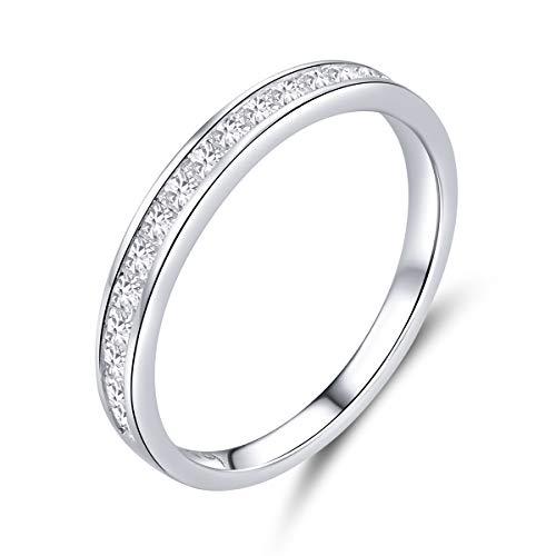 Anillo de compromiso para mujer de 2 mm, plata de ley 925 con circonita cúbica para novia