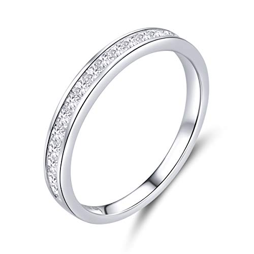 Anillo de compromiso para mujer de 2 mm de plata de ley 925 con circonita cúbica, anillo de eternidad para novia