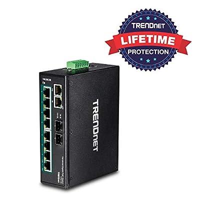 TRENDnet 10-Port Industrial Gigabit PoE+ DIN-Rail Switch, TI-PG102, 8 x Gigabit PoE+ Ports, DIN-Rail Mount, 2 x SFP Slots, 240 W PoE Power Budget, Network Switch, IP30, VLAN, QoS, Lifetime Protection