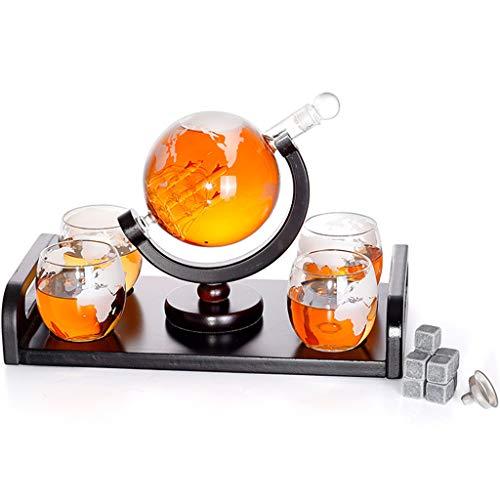 Juego De Jarra De Whisky Globe Con 4 Vasos - Jarra De 1000 Ml Con Barco En El Interior - Puede Personalizar Vasos Como Regalo Para Hombres