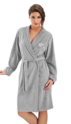 DOROTA kuscheliger und moderner Baumwoll-Bademantel mit Taschen & Bindeband, grau-Stickerei, Gr. L