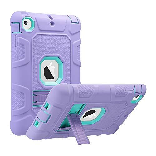 ULAK Funda Compatible para iPad Mini 1/2/3, [Serie Armor] 3 in 1 híbrido Cases de la Cubierta a Prueba de Golpes Carcasa con Soporte Función para el iPad Mini/iPad Mini 2 / iPad Mini 3 - Púrpura