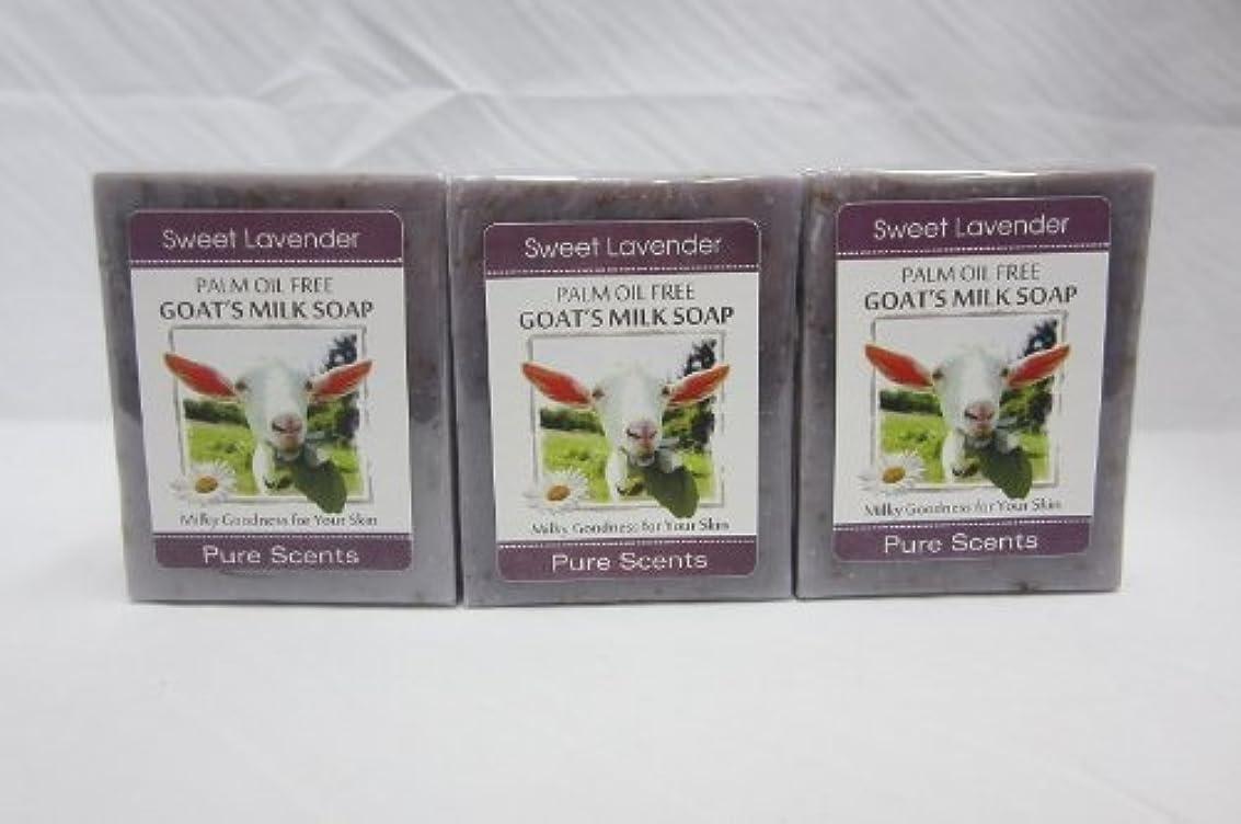 拮抗スキルカフェ【Pure Scents】Goat's Milk Soap ヤギのミルクせっけん 3個セット Sweet Lavender スイートラベンダー