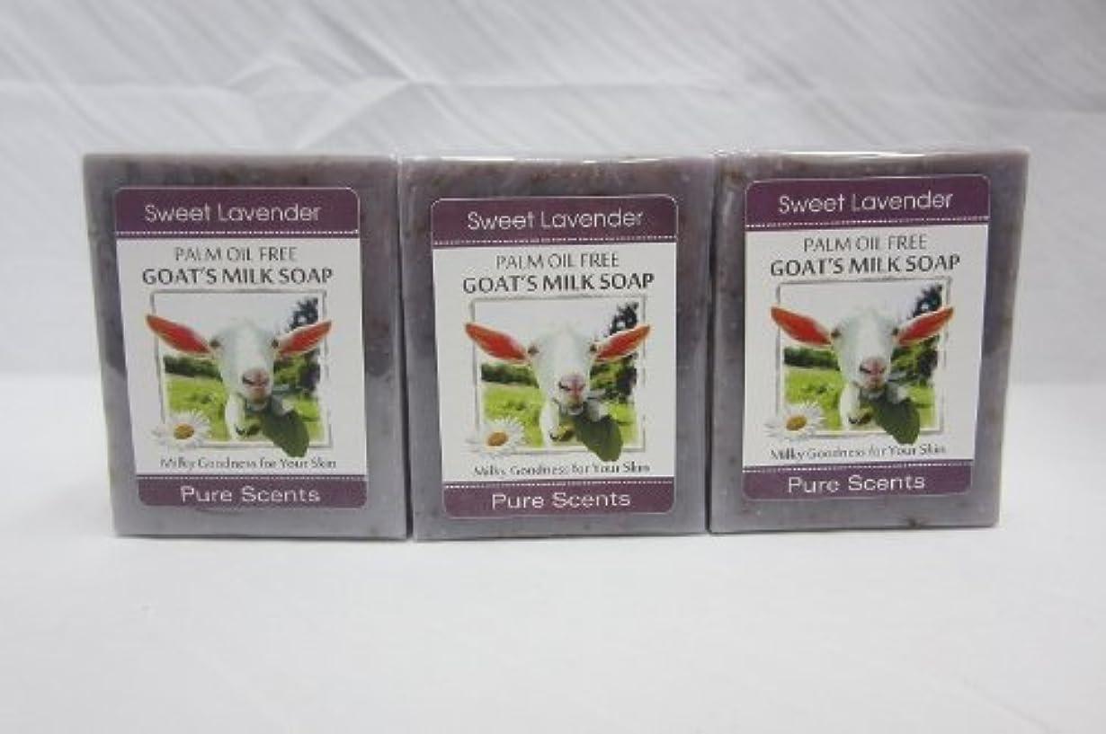 つかいます出しますゴール【Pure Scents】Goat's Milk Soap ヤギのミルクせっけん 3個セット Sweet Lavender スイートラベンダー
