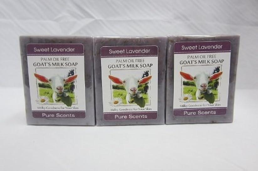 領収書侵入する冷凍庫【Pure Scents】Goat's Milk Soap ヤギのミルクせっけん 3個セット Sweet Lavender スイートラベンダー