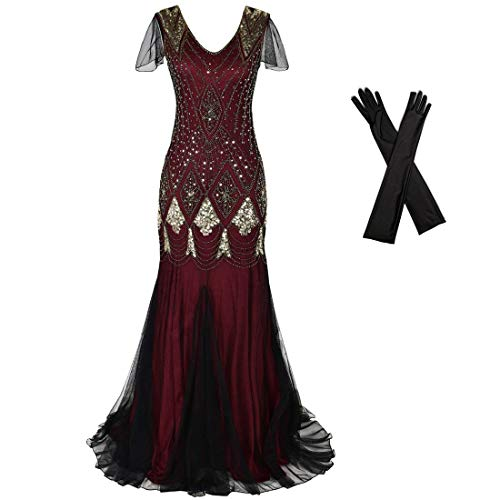 Women Evening Dress 1920s Flapper Cocktail Mermaid Plus Size Formal Gown with Long Gloves (XL/US 16-18, Burgundy Gold)