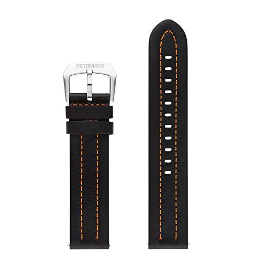 DETOMASO echtes italienisches Uhrenarmband aus Leder 22mm (Leder - Schwarz)